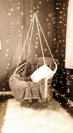 19 Cozy Bedroom Decoration IdeasYou can find Hanging chair and more on our Cozy Bedroom Decoration Ideas Bedroom Decor Dark, Small Room Bedroom, Cozy Bedroom, Bedroom Ideas, Small Bedrooms, Cozy Chair, Teenage Room, Fluffy Pillows, Cozy Blankets