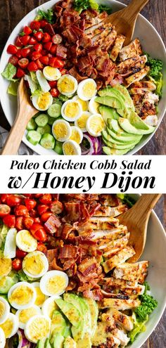 This grilled chicken Cobb salad is packed with all the goodies! Perfectly seasoned grilled chicken, crispy bacon, sliced eggs and avocado plus an easy and delicious honey dijon dressing that Chicken Salad Recipes, Healthy Salad Recipes, Healthy Salad With Chicken, Salad Chicken, Salad Recipes Gluten Free, Paleo Recipes Easy, Grilled Chicken Recipes Healthy Clean Eating, Best Grilled Chicken Salad Recipe, Healthy Salad For Lunch