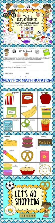 MONEY:  Lets Go Shopping is a fun way to practice using money, coin values, counting money and adding money. This activity can be used in a math station or center to reinforce build the concept of money. Students choose 2 cards that have items with money