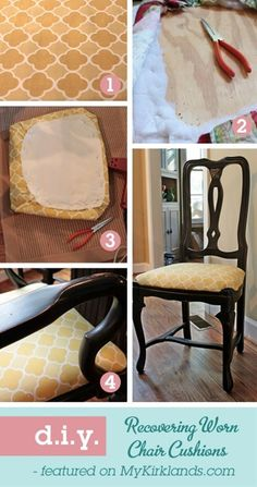 For when my mom decides to do her dining room chairs! Recovering Seats By Southern Hospitality DIY  1. Choose your new fabric  iron out the creases.  2. Unscrew the seat from the chair  use pliers to remove the staples from old fabric.  3. Cut your new fabric to fit seat cushion.  4. Fit new fabric over the cushion  staple tightly.  5. Replace seat on chair frame  tighten screws.