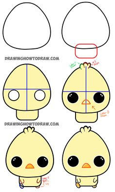 Here are the Steps to drawing chibi baby chicks