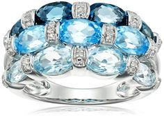 Sterling Silver, London Blue Topaz, Swiss Blue Topaz, Light Blue Topaz, and Diamond Ring, Size 7 * Click image to review more details.