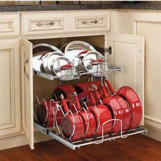 Two-Tier Cookware Organizer #kitchensource #pinterest #kitchenstorage #cabinetstorage