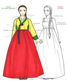 Hanbok is Korean traditional clothes, especially from This is the basic composition of woman Hanbok. Copyright ⓒ 2013 by . The Basic Composition Of Hanbok Korean Traditional Clothes, Traditional Fashion, Traditional Dresses, Historical Costume, Historical Clothing, Korean Hairstyles Women, Korea Dress, Kimono, Korean Hanbok