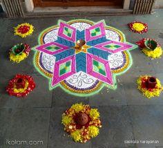 11 dots dot kolamRangoli Dotted Kolam (connected dots): Special Pooja kolam by sasikala narayanan Rangoli Designs, Diwali, Cool Designs, Dots, Halloween, Collections, Colour, Inspiration, Home Decor