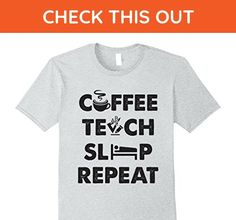 Mens EXCLUSIVE : Teach Coffee Sleep Repeat  FUNNY COOL TEACHER T Medium Heather Grey - Food and drink shirts (*Amazon Partner-Link)