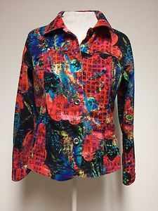 Chicos Addition Size 1 Abstract Art To Wear Top Button Down Long Sleeve Red Blue | eBay