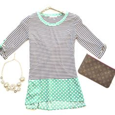 Stripe & polka dot peplum top