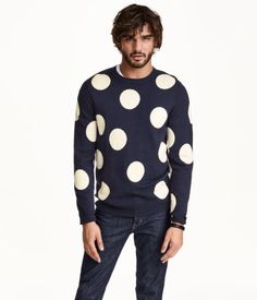 Fine-knit sweater in a soft cotton & wool blend with large dot pattern. | H&M For Men