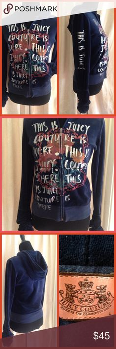 """""""Jamin' With Juicy"""" COOL JACKET This Juicy Couture jacket is ultra cool!! Navy blue with cool graphics on the front and wording up the right sleeve( says""""This Is Juicy"""") cool ruched cuffs at the sleeves, hood, front pockets!! Grab it while it's hot!! In excellent condition! Juicy Couture Jackets & Coats"""