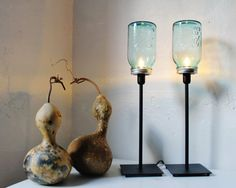 2 BLUE Antique Perfect Ball Mason Jar Table Top Lamps - Upcycled Lighting Fixtures - black metal and glass office lamps - BootsNGus design