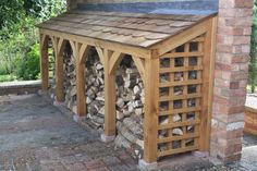 """"""" frame and shingle roof log store a aesthetic solution near the rear door ready for winter. Outdoor Firewood Rack, Firewood Shed, Firewood Storage, Wood Storage Sheds, Lumber Storage, Log Shed, Aesthetic Solutions, Log Store, Wood Logs"""