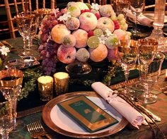 table centerpieces made with carved fruits | sugared fruit for centerpieces separate an egg and paint the fruit ...
