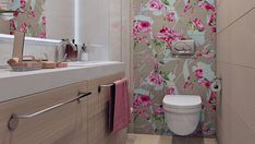 Downstairs Bathroom, Small Bathroom, Master Bathroom, Interior Wallpaper, Bathroom Wallpaper, Restroom Design, Pink Bedrooms, Toilet Design, House Paint Exterior