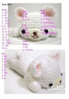 My toys Sake-Knit amigurumi: free pattern amigurumi Amigurumi Teddy-bear Preparation Chat Crochet, Crochet Diy, Crochet Gratis, Crochet Amigurumi, Crochet Bear, Love Crochet, Amigurumi Patterns, Crochet Animals, Crochet Dolls