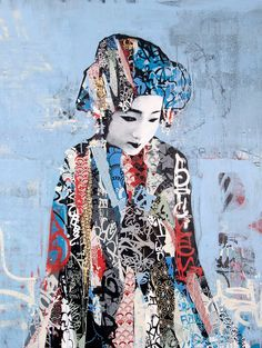 """""""Geishas"""" Hush (2011) -In his latest creation of work, Hush focuses on duality: Light and Dark, Conflict and Unity, Power and Innocence, and I think Old and New. The obvious combination is the old geisha with new graffiti, but there's more.  It's created on a computer then projected on a wall and hand painted.  This reminded me of the """"camera obscura"""" and oil paint used by old masters."""