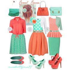 Mint and Coral Polka Dots. The one in the middle isn't my favorite but the rest, Adorable!!