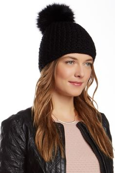 Fox Fur Pompom Knit Hat by Surell on @HauteLook