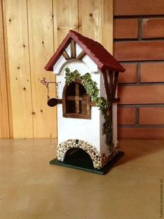 Wood Crafts, Paper Crafts, Bird Houses Painted, Decoupage Box, Fairy Garden Houses, Country Paintings, Cute House, Tea Box, Miniature Houses