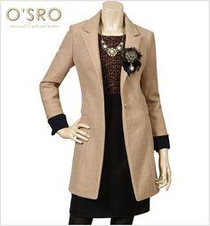 [패션플러스][OSRO]소매배색더블코트/코트,더블코트,소매배색코트,노카라코트 Ganji Fashion