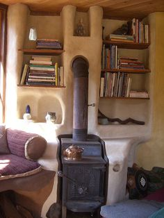 Wood stove in cob house