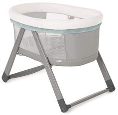 Portable Crib for Bedroom//Travel Grey Striped Newborn Baby Bassinet for Bed//Lo