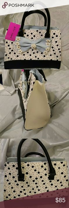 Betsey johnson satchel  NWT  blue gray black Bow with flowers. (gmaep) Betsey Johnson Bags Satchels