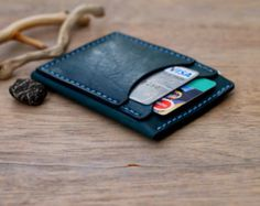 Leather Card Wallet Card Holder Leather Wallet by 22THEPORTALL