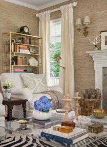 Liivng Room Ideas. Living Room Decor Ideas. Living room Furniture. Living Room Grasscloth Wallpaper. #LivingRoom   Kate Jackson Design