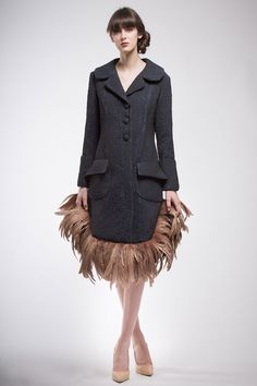 Blue coat wool and cotton brocade with the border of brown feathers