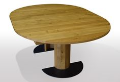 Round dining table solid oak extendable by means of central extract. Execution on wooden pillar with black steel foot plate in The column goes with the undressing. Made by Möbeltraum Hattingen made to measure for your customers Source by tischmoebelde Wooden Pillars, Oak Dining Table, Solid Oak, Plates, Steel, Furniture, Home Decor, Round Oak Dining Table, Round Dining
