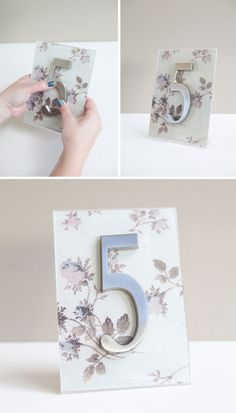 #DIY Scrapbooking paper + acrylic frame + self-adhesive house address number = super cute personalized wedding table numbers!