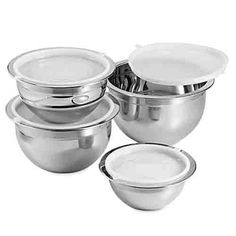 Professional Grade Nesting 4 Piece Stainless Steel Mixing Bowl Set and Lids with Wide Rims for Easy Mixing and Pouring ** If you love this, read review @ : Baking mixing bowls