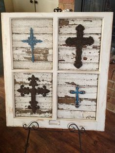 Salvaged Antique Window Frame with Crosses Placed by JustMeandMom, $70.00