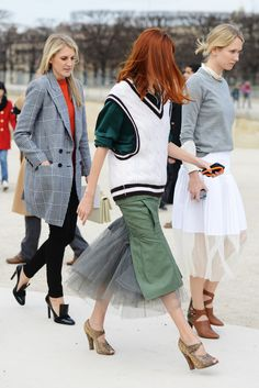 Swathes of tulle and netting dressed up these sweaters in Paris.