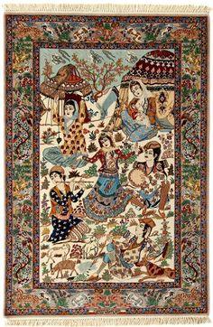 Wool and silk Persian rug.