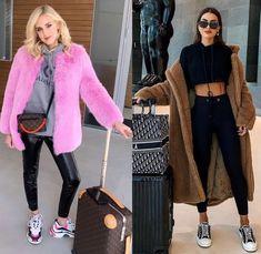 12 Looks de inverno 2019! Chiara Ferragni, Camila Coelho, looks das blogueiras famosas, casaco de pele, casaco de pelos, teddy coat, moletom, chunky sneaker, dad sneaker, calça de verniz, conjuntinho de moletom preto, moda feminina Winter Looks, Festival Looks, Ideias Fashion, Coat, Peles, Outfits, Chile, Yellow Coat, All Black Outfit