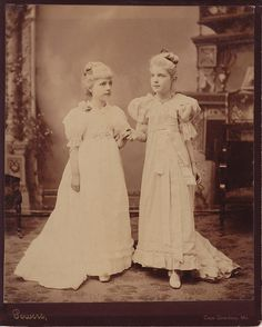 A pair of ethereally lovely fair haired Victorian sisters. #Victorian #1800s #portrait #girls #children #beautiful #19th_century #antique #vintage