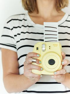 Stripes on stripes, plus a pop of color for a casual summer look! Instax Mini 8   created by @erinloechner for #instax #ootd