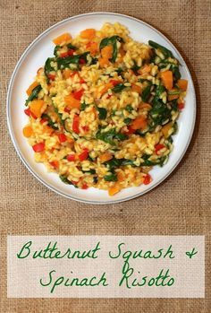 Butternut Squash & Spinach Risotto - this was excellent. Give more time for risotto to cook. Healthy Eating Recipes, Veg Recipes, Vegetarian Recipes, Cooking Recipes, Recipies, Entree Recipes, Healthy Food, Spinach Risotto, Butternut Squash Risotto