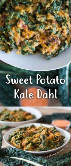 Kale Sweet Potato Curry Dahl Is Plant Health In A Bowl - Sweet Potato and Kale Dahl Recipe – easy, vegan, cheap, healthy via Nest and Glow - Veggie Dishes, Veggie Recipes, Indian Food Recipes, Whole Food Recipes, Vegetarian Recipes, Cooking Recipes, Healthy Recipes, Recipes Dinner, Shrimp Recipes