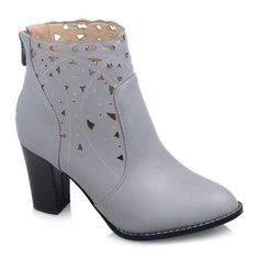 Chunky Heel Hollow Out Zipper Ankle Boots