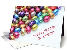 grandson Happy easter - colored chocolate candy eggs card