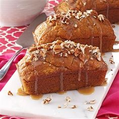 Mini Pumpkin Cakes with Praline Sauce Recipe -My family's favorite holiday dessert is a real Southern treat. A warm praline sauce and sprinkling of pecans make each small pound cake even more decadent. —Diane Roark, Conway, Arkansas