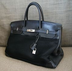 Hermes black birkin in swift leather and black toile