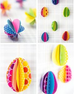 ostereier papier-bunt basteln mit kindern girlande Easter eggs paper-colored tinker with children ga Easy Easter Crafts, Egg Crafts, Easter Art, Hoppy Easter, Easter Crafts For Kids, Easter Eggs, Paper Crafts, Easter Bunny, Bunny Crafts
