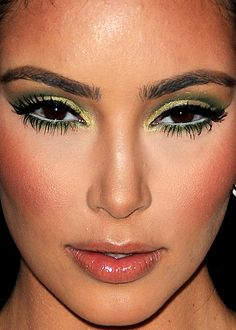 green eye shadow/ white in the water line  I love green eye shadow