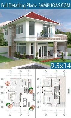 3 Bedrooms Modern Home Plan - SamPhoas Plan House Layout Plans, Duplex House Plans, Bedroom House Plans, Dream House Plans, Modern House Plans, House Layouts, Small House Plans, House Floor Plans, 2 Storey House Design