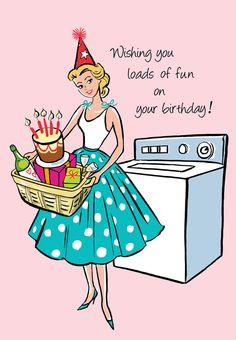 Laundry~Greeting Card Happy BIrthday Fashionista with by graphitegirl