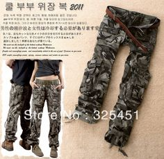 free shipping 2013 women's cargo pants cool drawstring low-waist lovers Camouflage pants casual trousers S M L XL XXL 3XL XXXL € 19,62